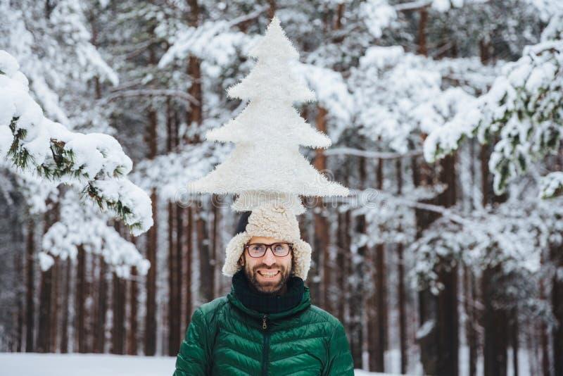 微笑的男性模型水平的射击在冬天森林里拿着在头的杉树,站立outdor,享受平静和平静的atmosph 免版税库存照片