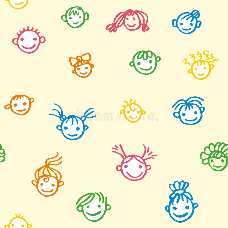 微笑的童颜的无缝的样式在淡黄色背景的 愉快的孩子的 色的毛毡钛得出的乱画例证 库存例证