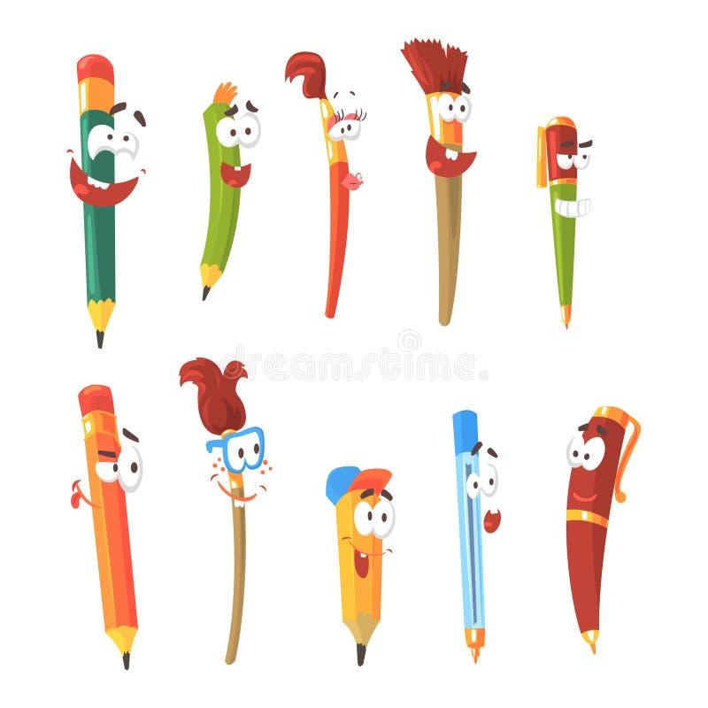 微笑的笔、铅笔和刷子,套生气蓬勃的固定式漫画人物隔绝了五颜六色的贴纸 向量例证