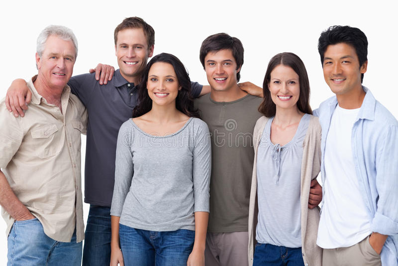 微笑的组朋友 免版税库存照片