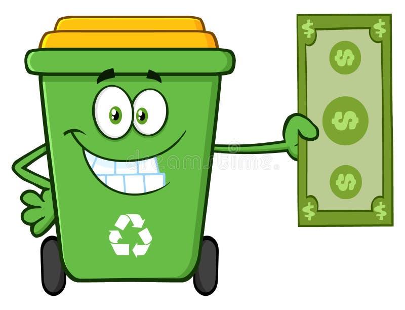 微笑的绿色回收站动画片拿着美金的吉祥人字符 皇族释放例证