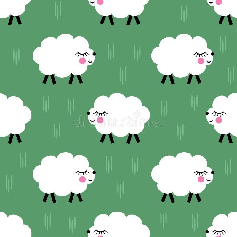 微笑的羊羔无缝的样式背景 传染媒介小绵羊例证孩子假日 皇族释放例证