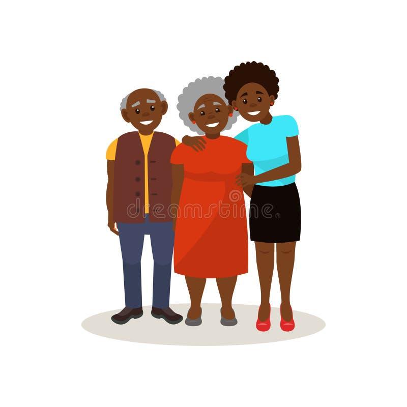 微笑的美国黑人的黑年长的夫妇和一起摆在他们的成人的女儿,愉快的家庭观念传染媒介 向量例证