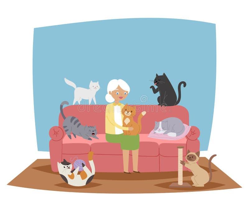 微笑的老婆婆,拿着猫横幅传染媒介例证的老妇人 妇女坐沙发在客厅 使用与的宠物 皇族释放例证