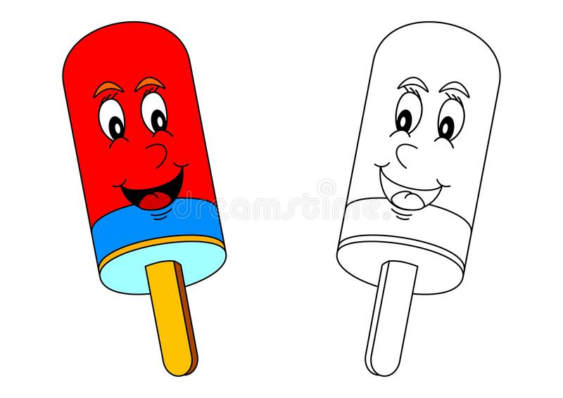 微笑的色的冰棍作为小孩的着色 库存例证