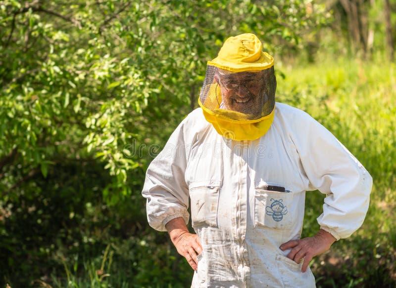 微笑的蜂农画象有养蜂业帽子和面纱的 免版税库存图片