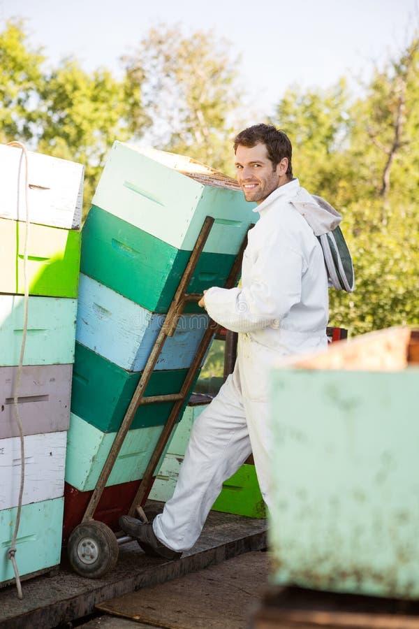 微笑的蜂农,当堆积蜂窝条板箱时 免版税图库摄影