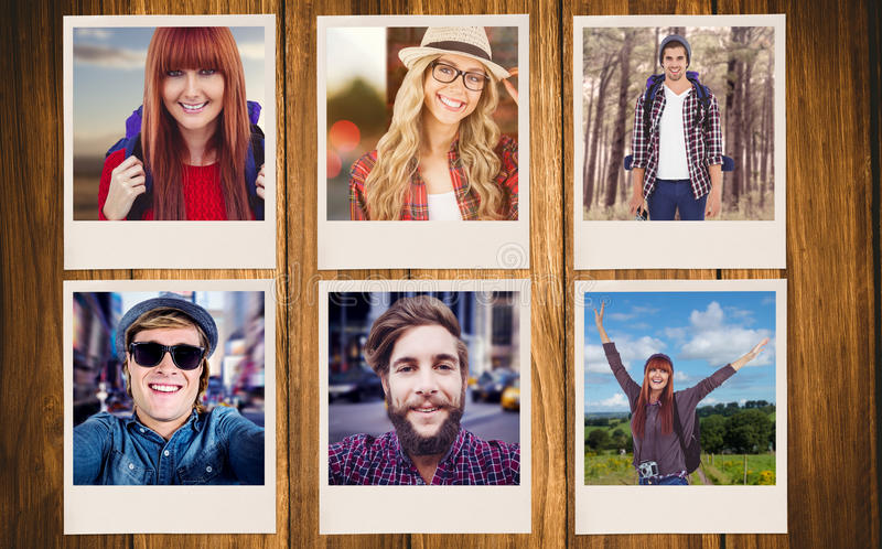 微笑的行家妇女的综合图象有采取selfie的旅行袋子的 免版税图库摄影