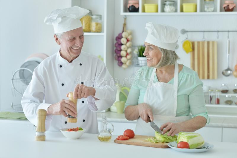 微笑的资深厨师夫妇画象厨房的 库存照片