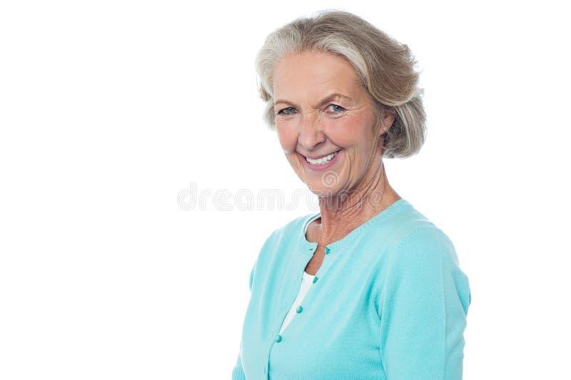 微笑的资深妇女画象 库存照片