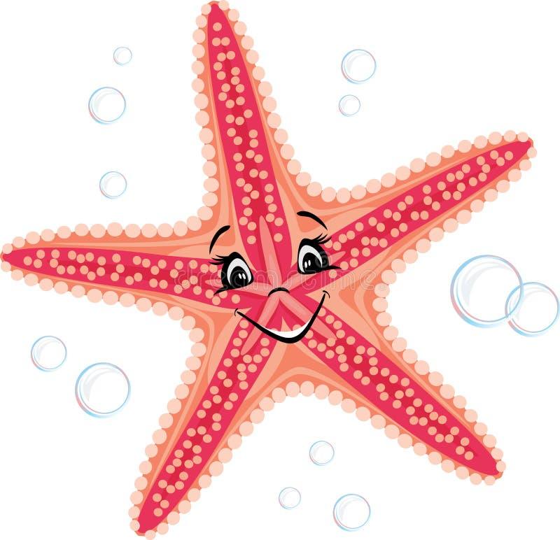 微笑的逗人喜爱的海星 向量例证