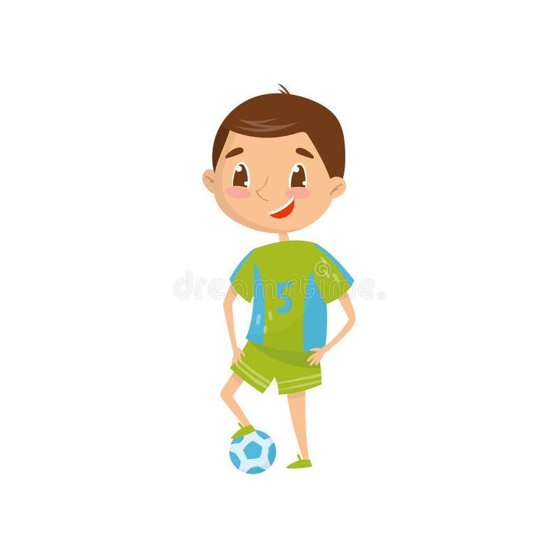 微笑的青少年的男孩要是职业橄榄球球员今后 事业天在学校 梦想行业 动画片 库存例证