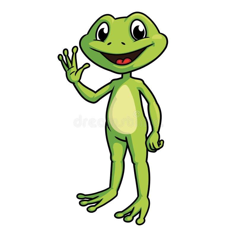 微笑的青蛙挥动的手 皇族释放例证