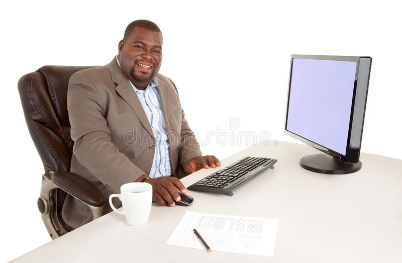 微笑的非洲裔美国人的生意人 免版税图库摄影