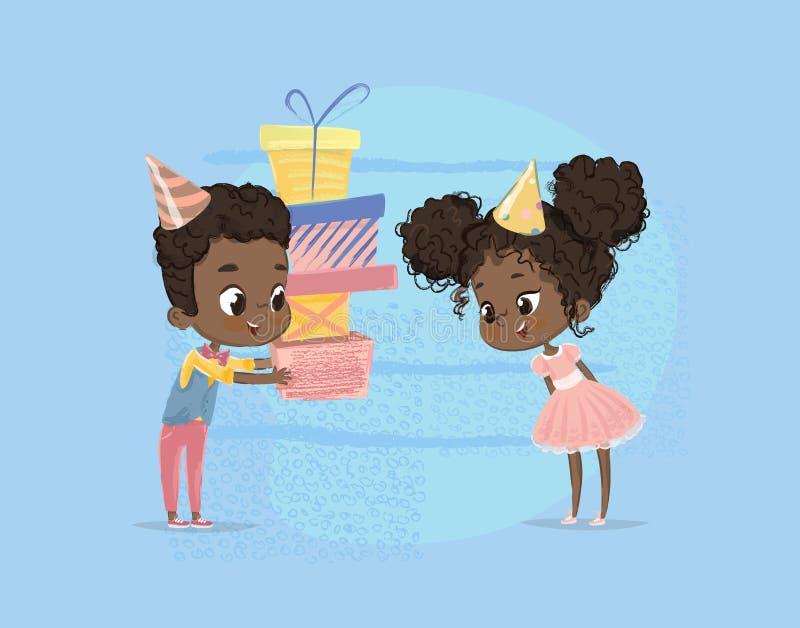 微笑的非裔美国人的儿童男孩给女孩生日礼物箱子 兄弟字符给姐妹惊奇当前海报 向量例证