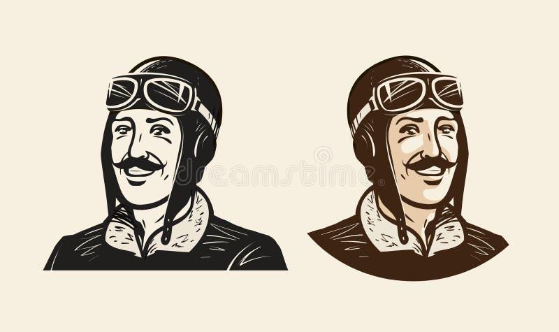 微笑的飞行员或竟赛者画象  葡萄酒剪影传染媒介例证 库存例证