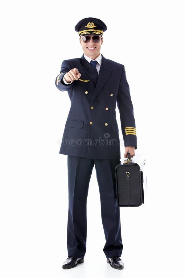 微笑的飞行员 免版税库存图片