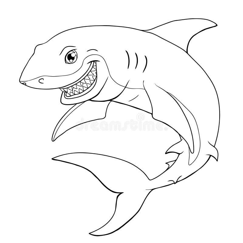 微笑的鲨鱼在白色的黑等高 库存例证