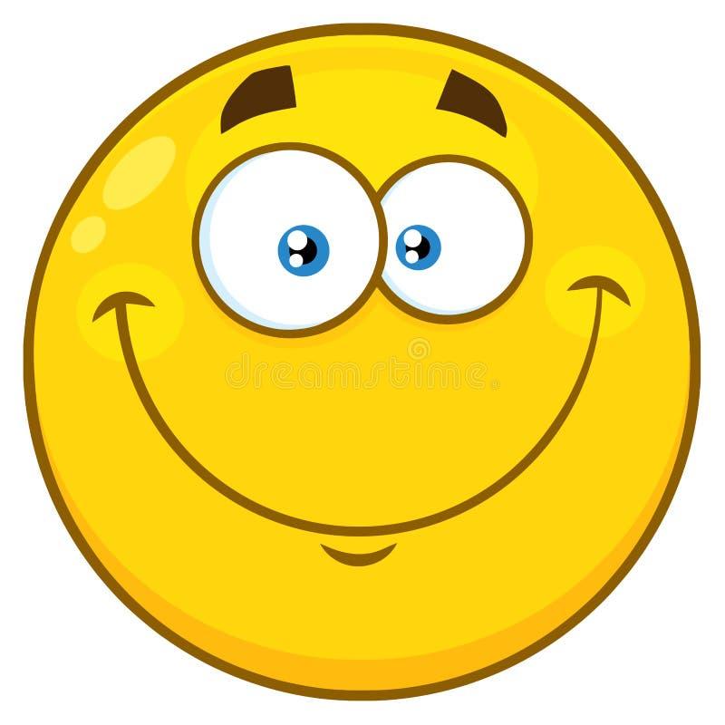 微笑的黄色动画片Emoji面对与愉快的表示的字符 皇族释放例证