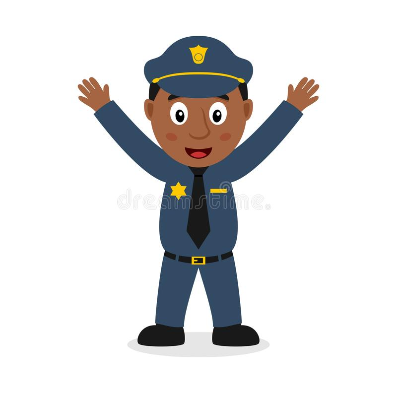 微笑的黑人警察卡通人物 向量例证