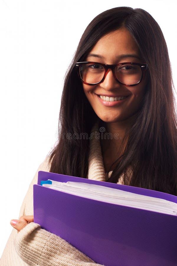 微笑的年轻亚裔学生 免版税库存照片