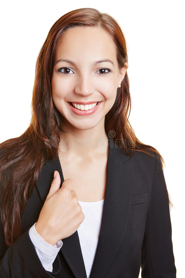 微笑的年轻女商人 库存照片