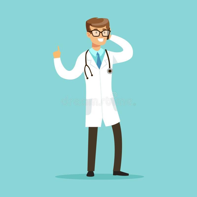 微笑的医生字符站立和谈话在手机传染媒介例证 库存例证