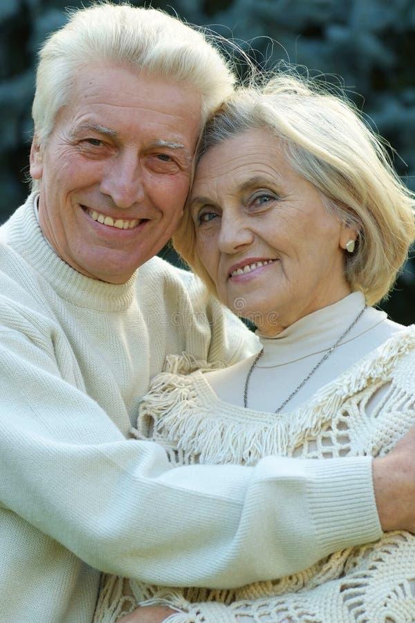 微笑的年长夫妇 库存照片