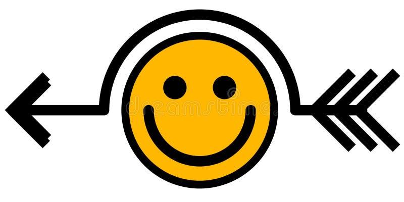 微笑笑话箭头标志 向量例证