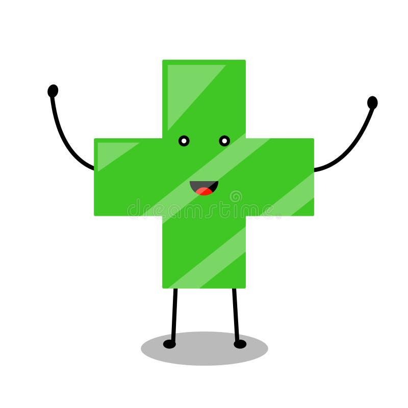微笑绿色药房商标 库存例证
