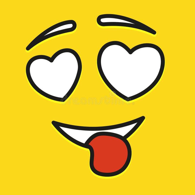 微笑象模板设计 在爱意思号在黄色背景的传染媒介商标 面孔线艺术样式 展示舌头 皇族释放例证