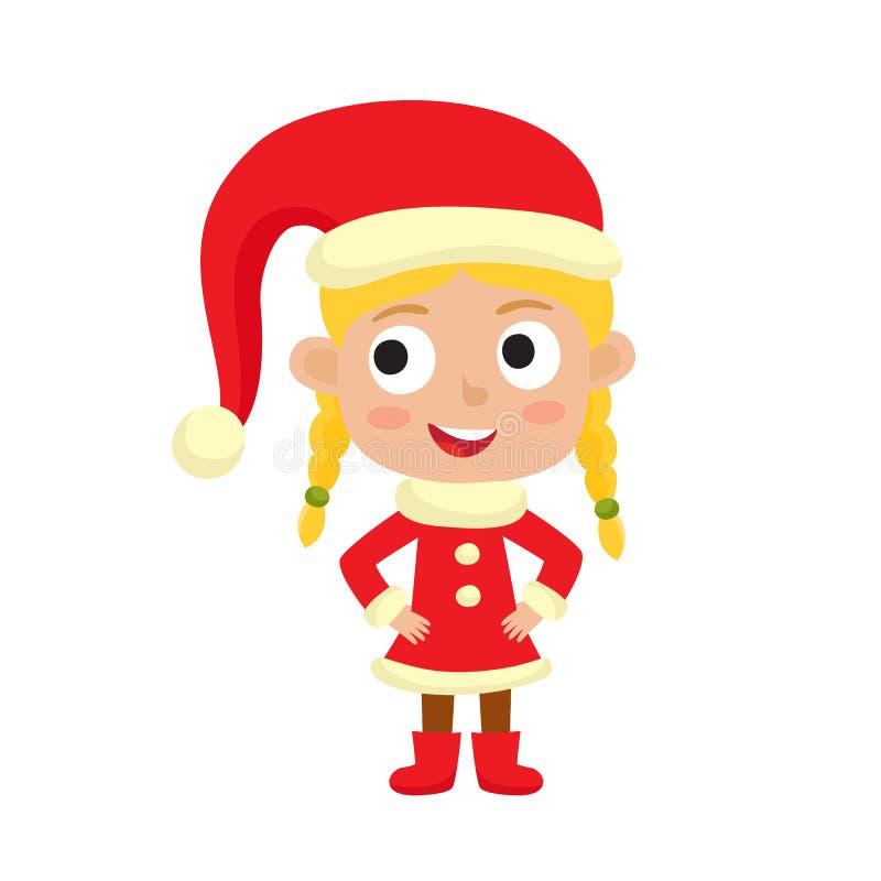 微笑逗人喜爱的小的圣诞节女孩的矮子,在白色隔绝的传染媒介例证用于杂志或书,海报和卡片 库存例证