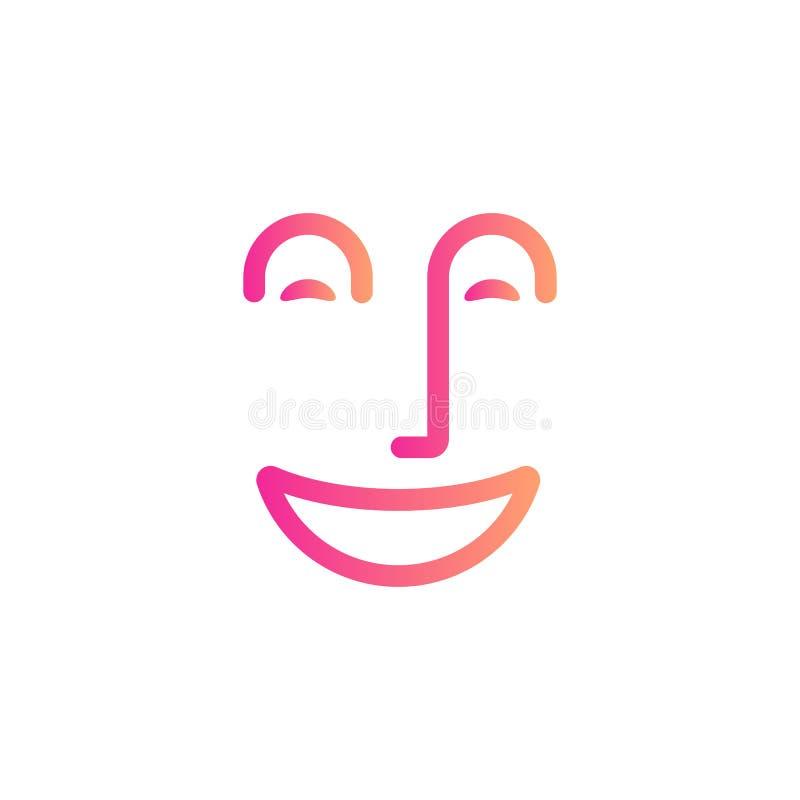 微笑面孔标志,愉快的人民提取线象,快乐的心情,正面情感,牙科线性商标模板 皇族释放例证