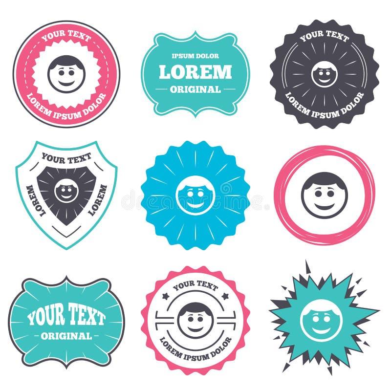微笑面孔象 与发型标志的面带笑容 向量例证