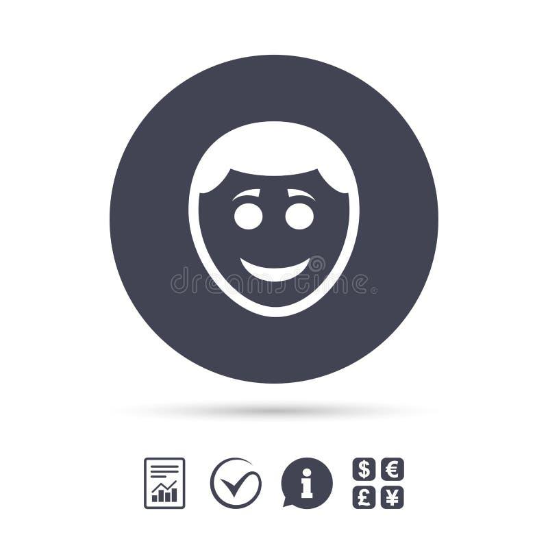 微笑面孔象 与发型标志的面带笑容 皇族释放例证