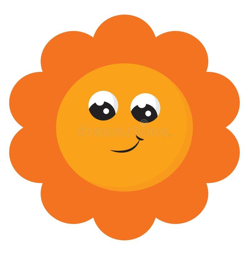 微笑黄色太阳矢量或彩色插图的剪贴画 向量例证