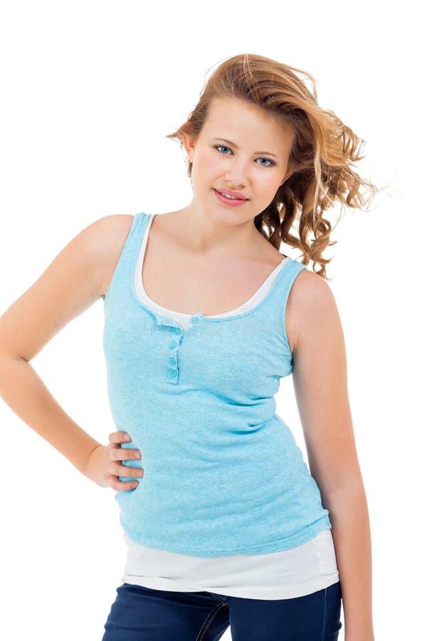 微笑年轻少年的女孩有乐趣画象 库存图片