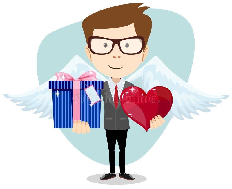 微笑年轻的人,拿着礼物和心脏 库存例证