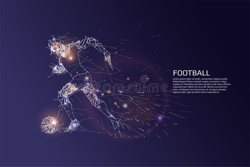 微粒和线足球运动员小点行动 向量例证