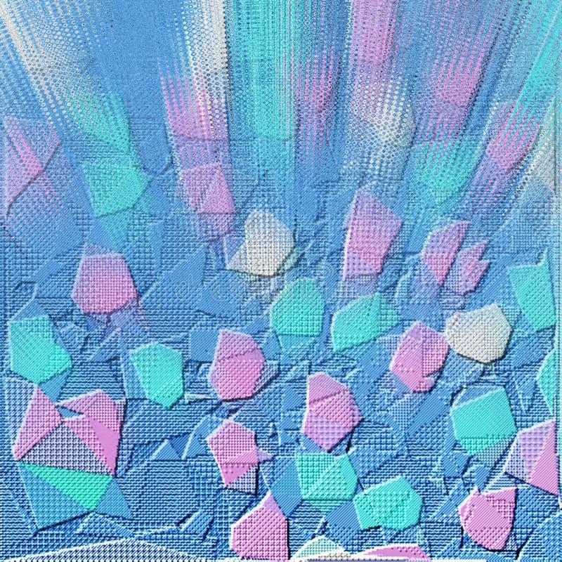 微粒形成线和表面栅格 3d?? 发光的微粒科幻五颜六色的背景与景深的 库存例证
