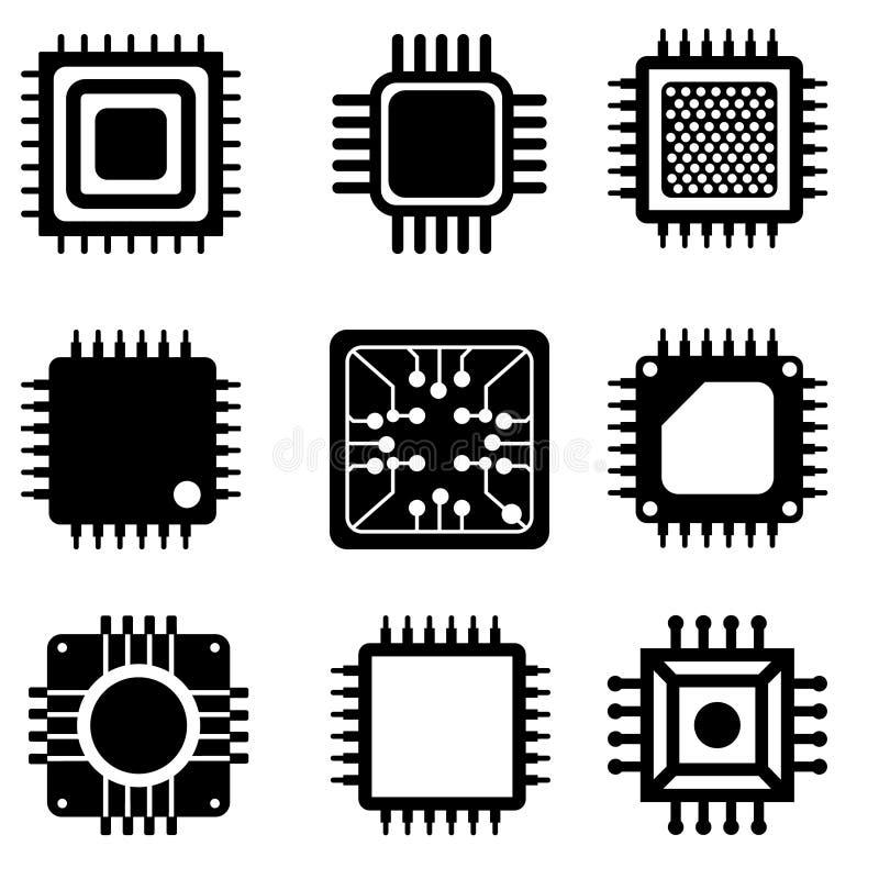 微芯片矢量图标集 CPU插图符号集合 核心图标或符号 向量例证