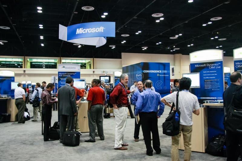 微软摊在陈列的在微软汇合框架  免版税库存图片