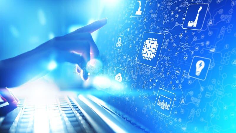 微集成电路、人工智能、事IOT,数字综合化自动化和互联网  概念查出的技术白色 库存图片