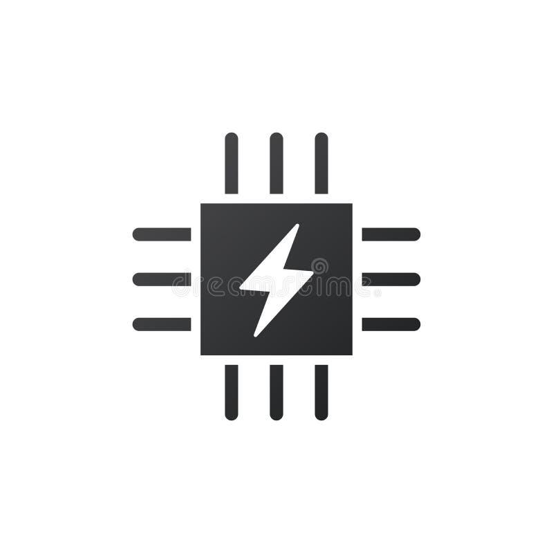 微集成电路象 CPU,中央处理单元,计算机处理器,与闪电象的芯片标志 抽象技术商标 皇族释放例证