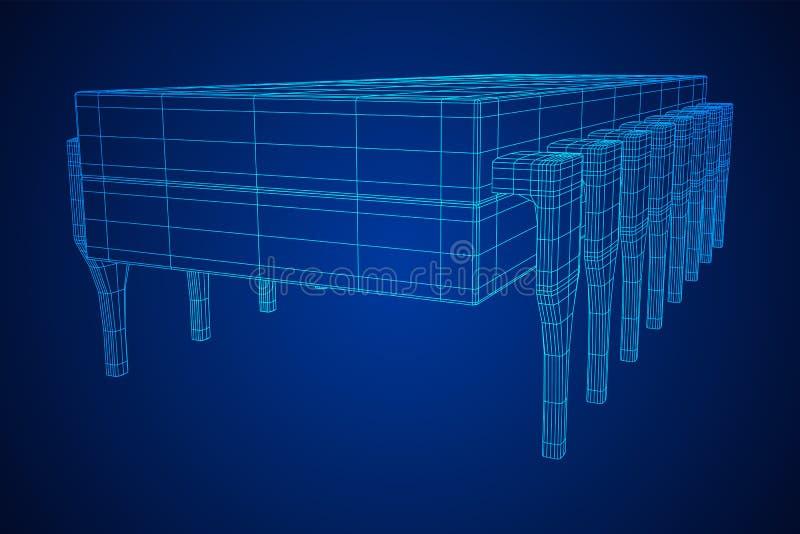 微集成电路量子处理器 皇族释放例证
