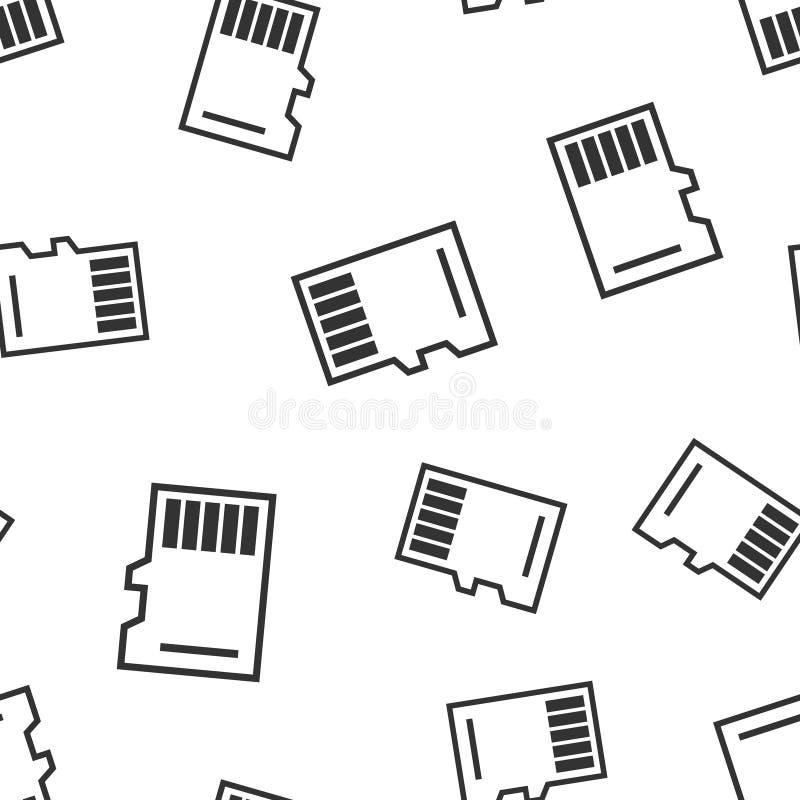 微SD卡片象无缝的样式背景 存储芯片在白色被隔绝的背景的传染媒介例证 存贮适配器 皇族释放例证