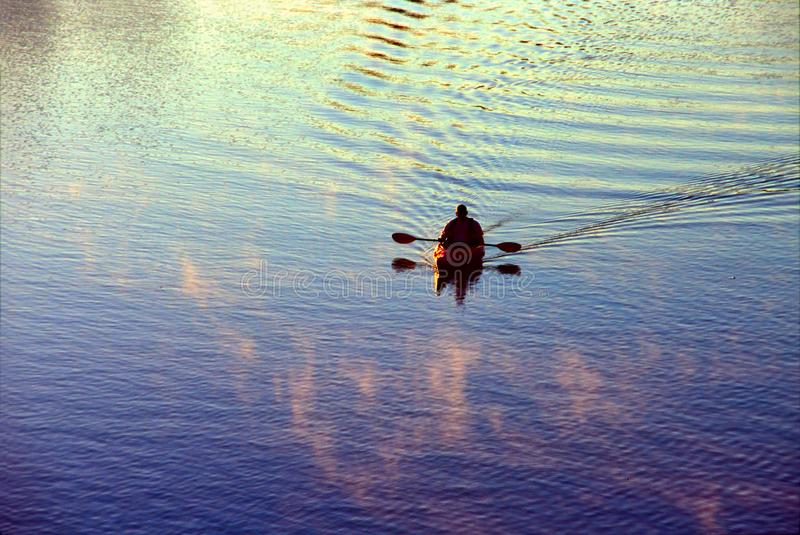 德克萨斯州奥斯汀市Ladybird Lake湖的孤独皮划艇 免版税库存照片