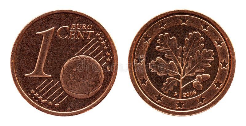 德国五欧分德国硬币、前方1和世界地球,后侧方橡木叶子 免版税库存照片