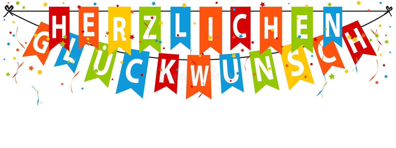 德国党横幅Herzlichen Glà ¼ ckwunsch -翻译:生日快乐 向量例证