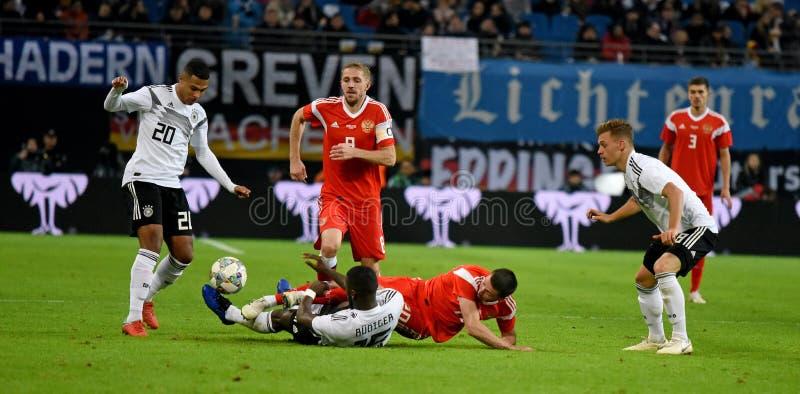 德国全国足球队球员毛哔叽Gnabry,安东尼奥鲁迪 免版税库存照片